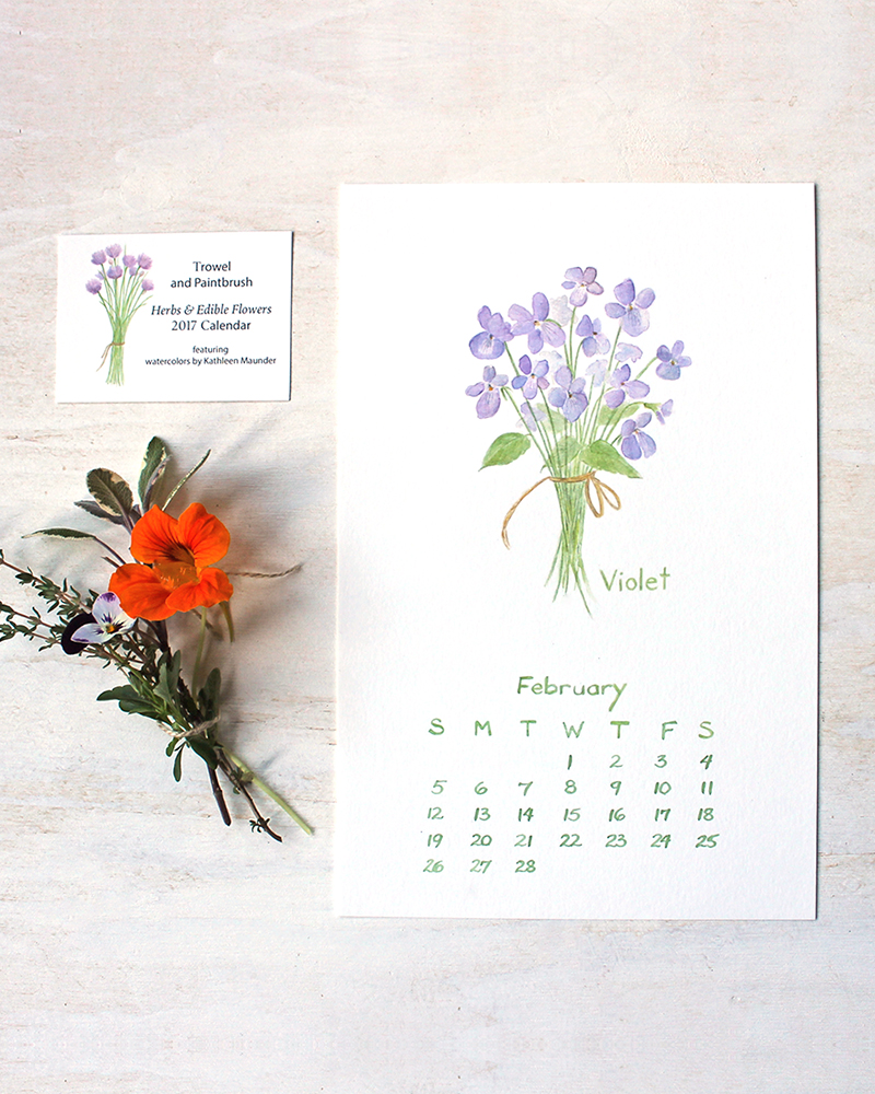 February watercolor calendar image of violets by Kathleen Maunder of Trowel and Paintbrush