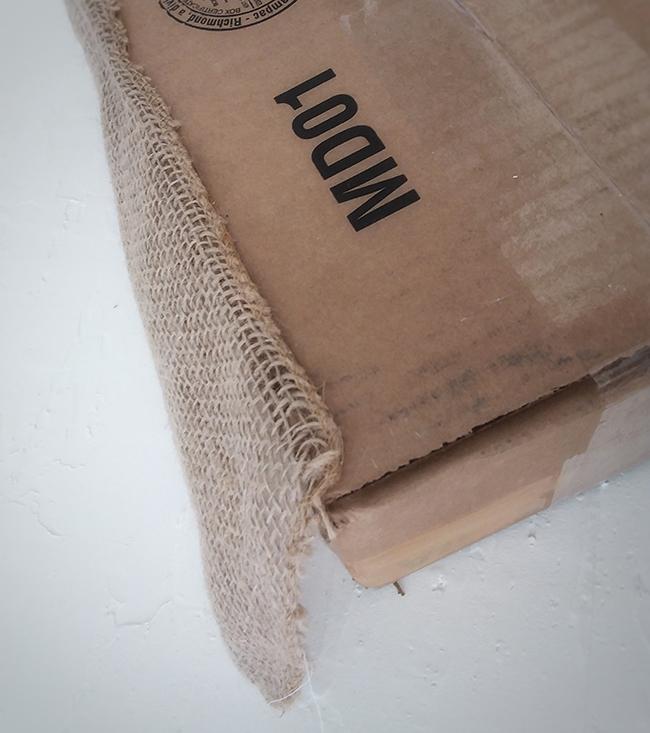 glue burlap to bottom of box