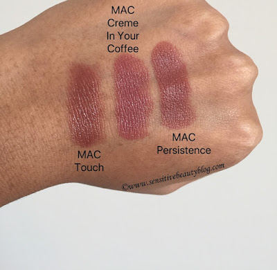 MAC touch creme in your coffee persistence lipsticks swatches dark skin