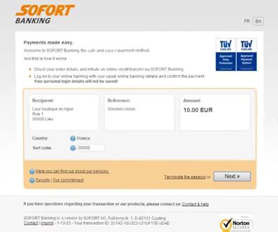 Sofortüberweisung Bank transfer Screen