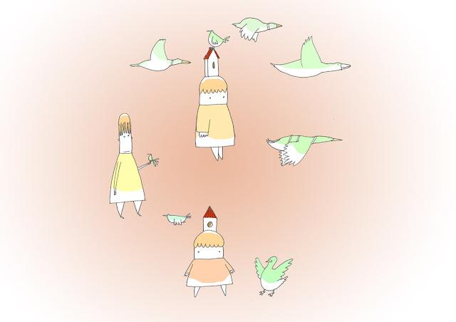 disegno di bambine e papere in girotodo con sfondo rosso