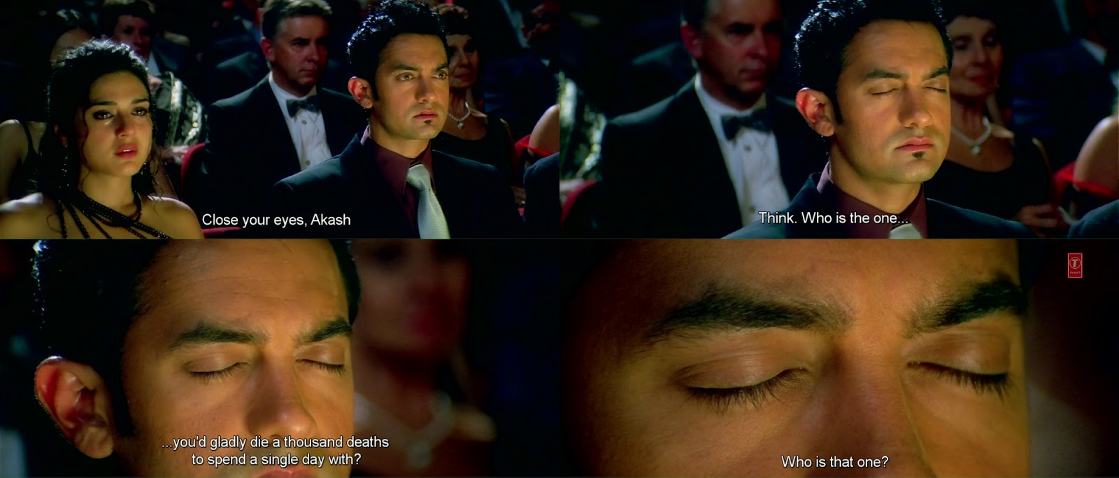 Image result for Dil Chahta Hai:When Akaash closes his eyes and sees Shalini, who was sitting next to her during the opera