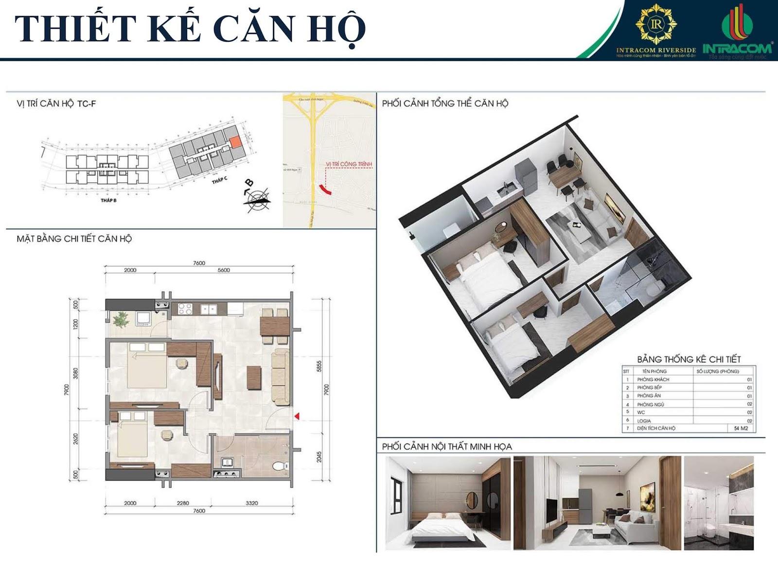 Thiết kế căn 07 - 14 - 54m2
