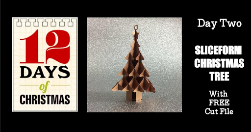 Video tutorial and free sliceform Christmas tree cut file for Silhouette by Nadine Muir