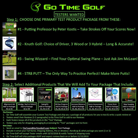 Go Time Golf - Presents: Golf Product Testers Wanted