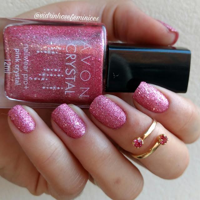 esmalte avon pink crystal texturizado