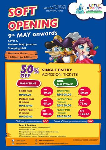 PROMOSI 50 % SOFT LAUNCHING - Little Kingdom Maju Junction Kuala Lumpur - Indoor Edutainment Theme Park