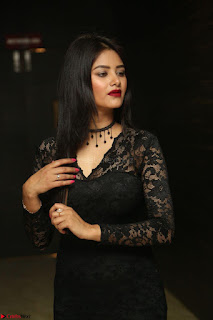 Actress Monica in spicy transparent Black Top at O Pilla Nee Valla Movie Audio Launch Feb 2017 163.JPG