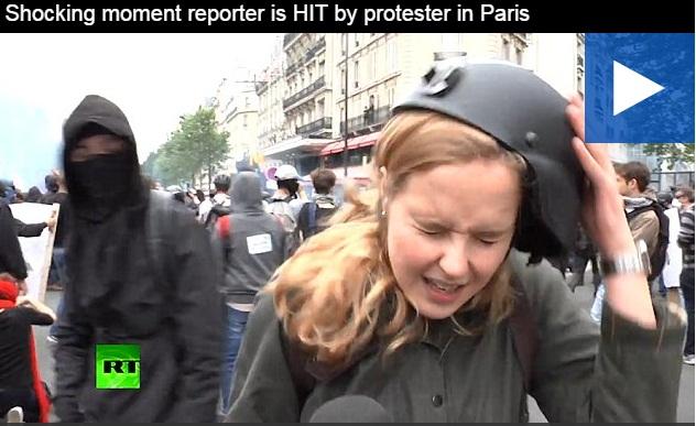 Θρασύδειλος κουκουλοφόρος στη Γαλλία χτυπά ρεπόρτερ που συνεχίζει σα να μη συνέβη τίποτα (Video)