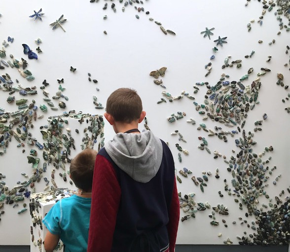 Family Activities in Nottingham | Morgan's Milieu: LP and BP looking at Swarm at Nottingham Lakeside Art Centre.