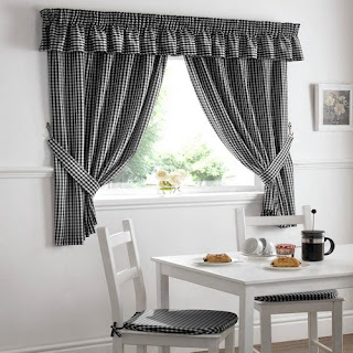 Black And Silver Kitchen Curtains