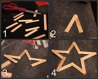 estrella para arbol de navidad con palitos de madera paso a paso