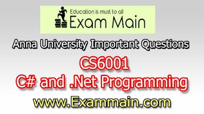 CS6001 C# and .Net Programming