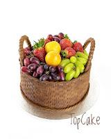 Hedelmäkakku, topcake, tilauskakku, hedelmäkorikakku, cake, kakku, fruit cake, hedelmäkori, mansikka, suklakakku, kori, hedelmät