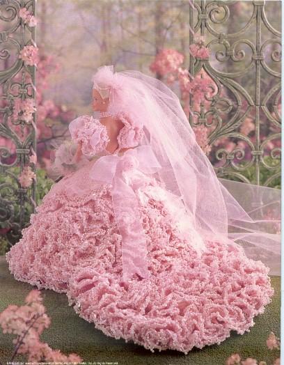 Vestido de noiva de crochê para bonecas Barbie - Receita em inglês 3