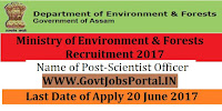 Ministry of Environment & Forests Recruitment 2017–  Scientist Vacancy