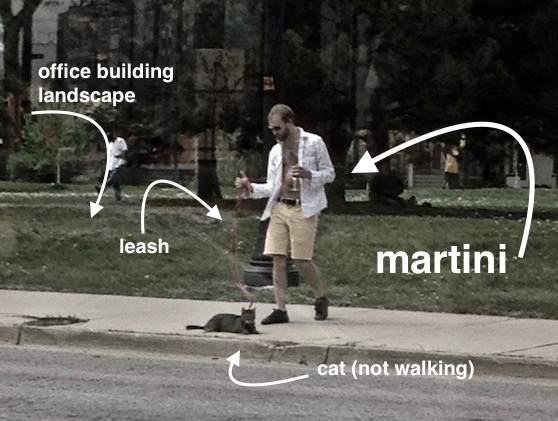 Hipster cat out for a walk while owner carries a martini. Better with a mustache? marchmatron.com