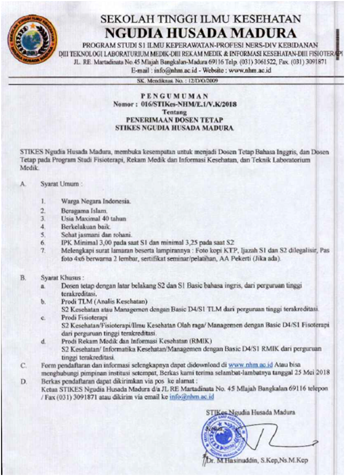 Lowongan Dosen Tetap STIKES Ngudia Husada Madura (NHM)