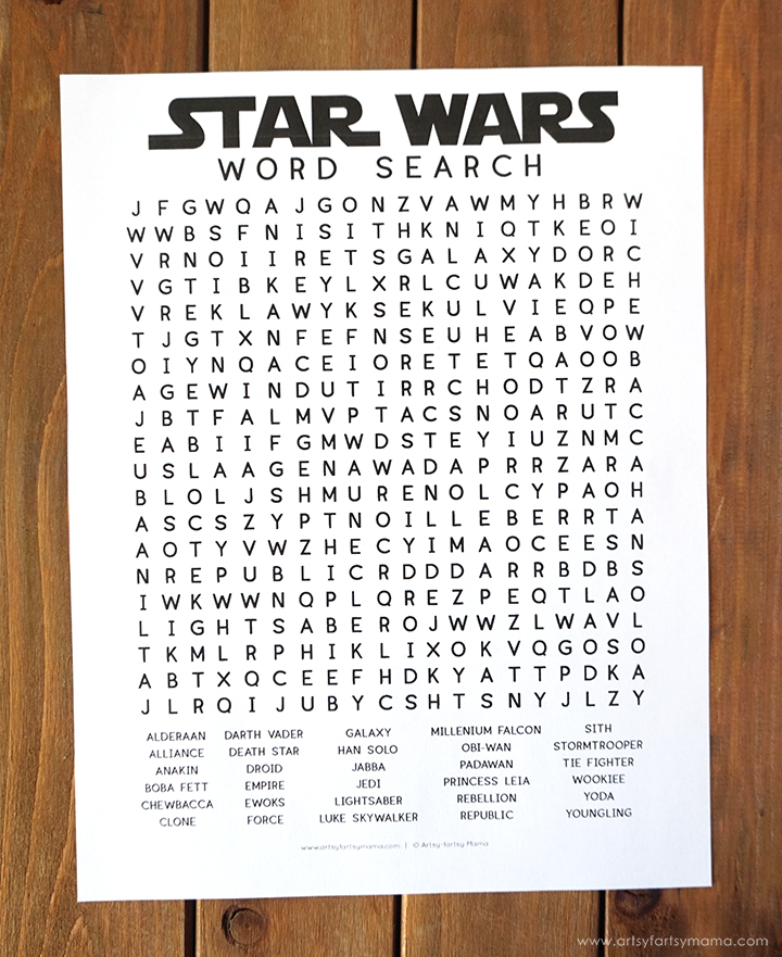 Free Printable Star Wars Word Search