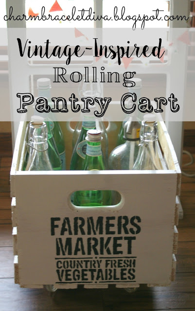 DIY vintage-inspired rolling pantry cart filled with Pellegrino bottles