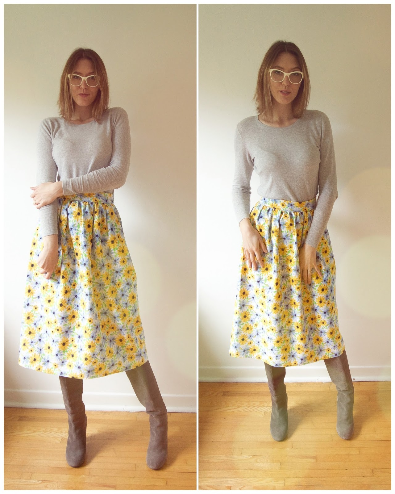 Floral Skirt and Grey Boots