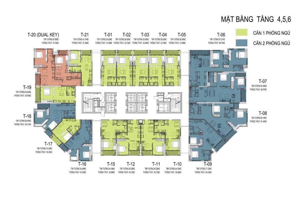 Mặt bằng tổng thể tầng 4,5,6 dự án chung cư D' El Dorado Phú Thượng Tây Hồ