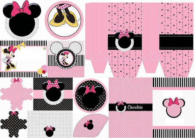 Funny Pink Minnie Mouse Free Printable Kit.