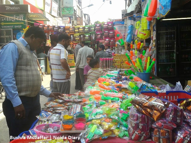 Noida Diary: Shopping for Holi in Local Shopping Center, Sector 25, Noida