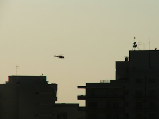 Evening sky with Helicopter