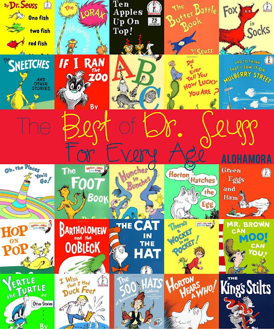 The Best of Dr. Seuss Books For Every Age and/or Grade.  These 25 books are perfect for his birthday and Read Across America Day.  These books are fun, funny, full of rhyme, and make perfect read alouds.  Alohamora Open a Book books for boys, girls, babies, toddlers, preschoolers, kindergarten, first, second, third, fourth, fifth, sixth grade.