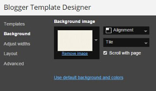 Screenshot of Blogger Template Designer on Background showing background image and alignment.