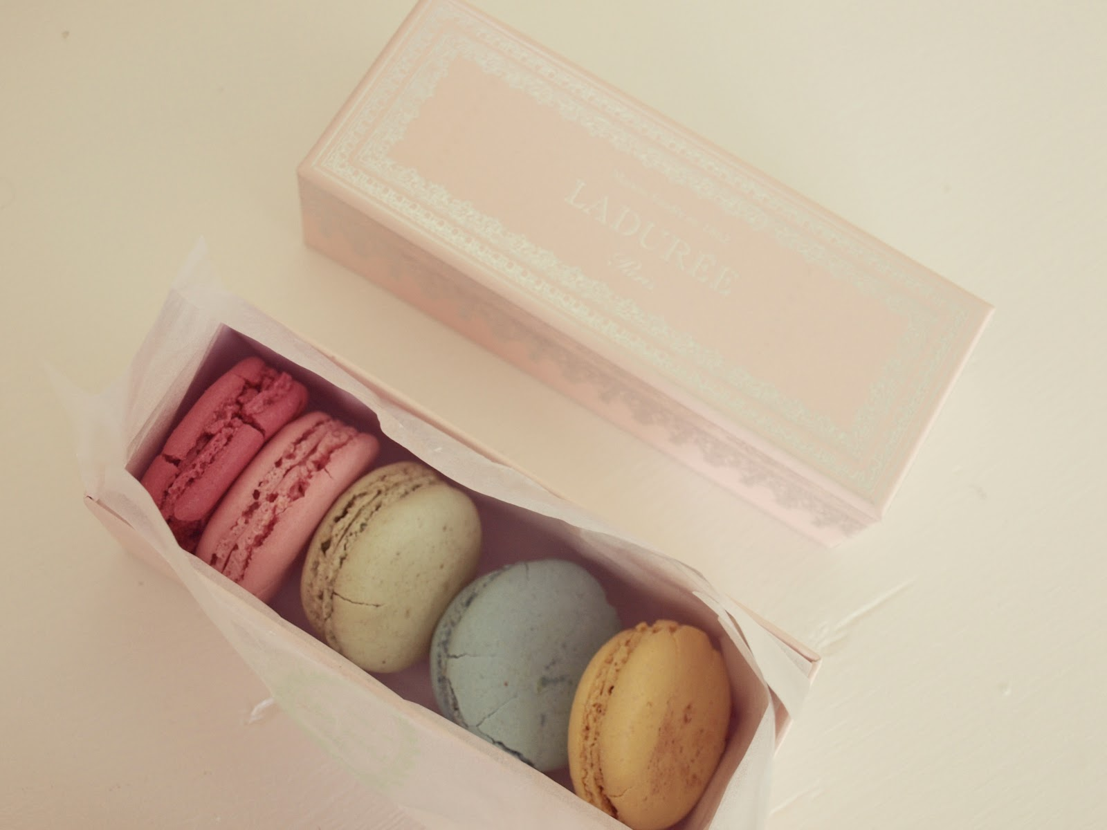 Pink box of colorful Laduree French macarons by Hello Lovely Studio
