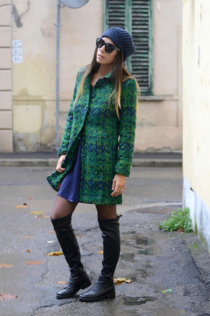 cappotto tricot verde blu