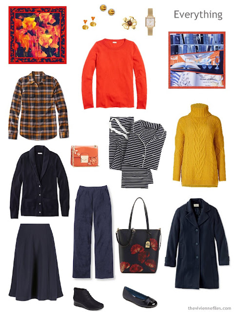 a tote-bag weekend travel capsule in navy with orange and yellow accents