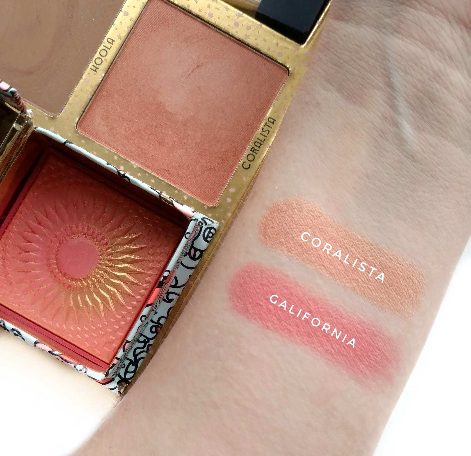 benefit GALifornia coralista comparison swatches