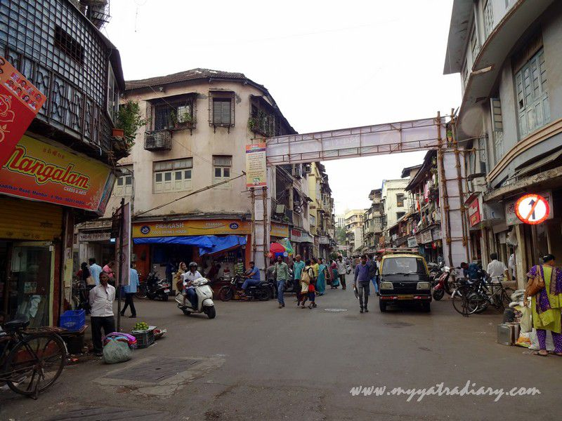 Lane towards Keshavji Naik Chawl Sarvajanik Ganeshotsav Mandal oldest in Girgaon, Mumbai.