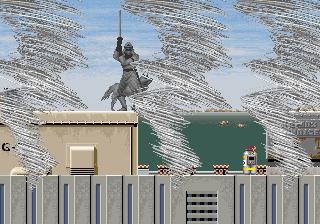 Captura de pantalla del Shadow Dancer. La imagen muestra el momento en que nuestro ninja usa una de las tres magias Ninjutsu que existen en el videojuego arcade
