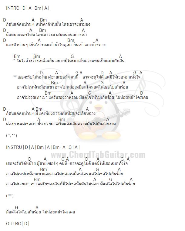 คอร์ดเพลง แค่คนบ้านๆ - วงคอนเทนเนอร์ Feat.เอฟ วงฟิน