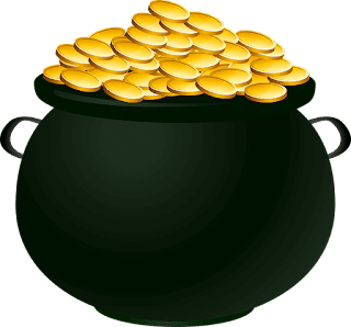 Black Cauldron Filled with Golden Coins - Graphic