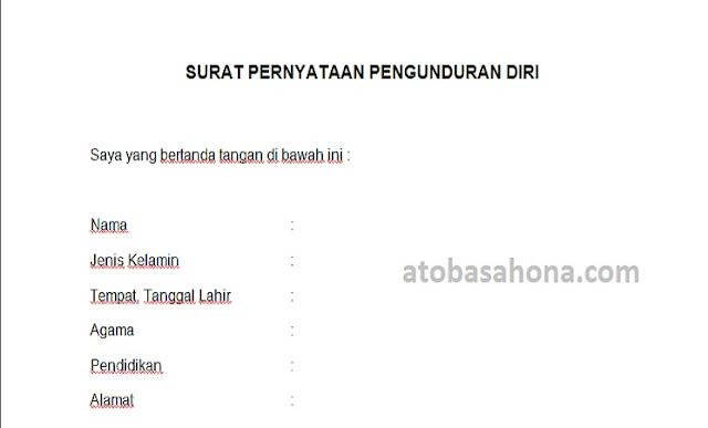 Contoh Surat Pengunduran Diri Tenaga Honorer Kontrak