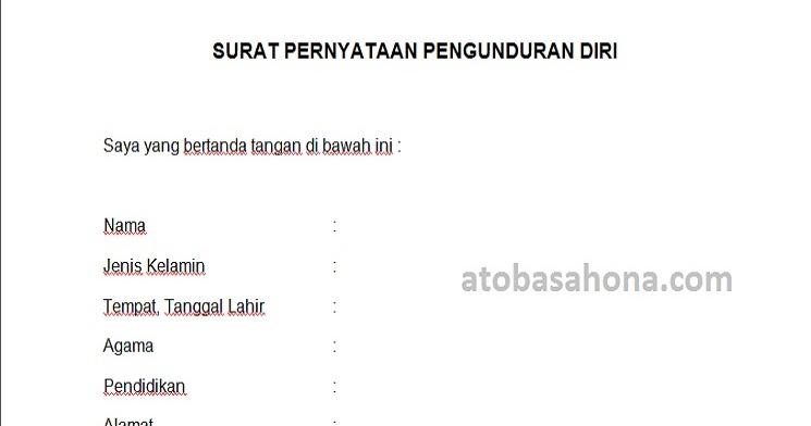 Contoh Surat Pengunduran Diri Tenaga Honorer Kontrak Ato