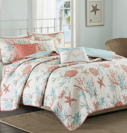 Coastal Sea Life Cotton Quilts For Beach Dreamers
