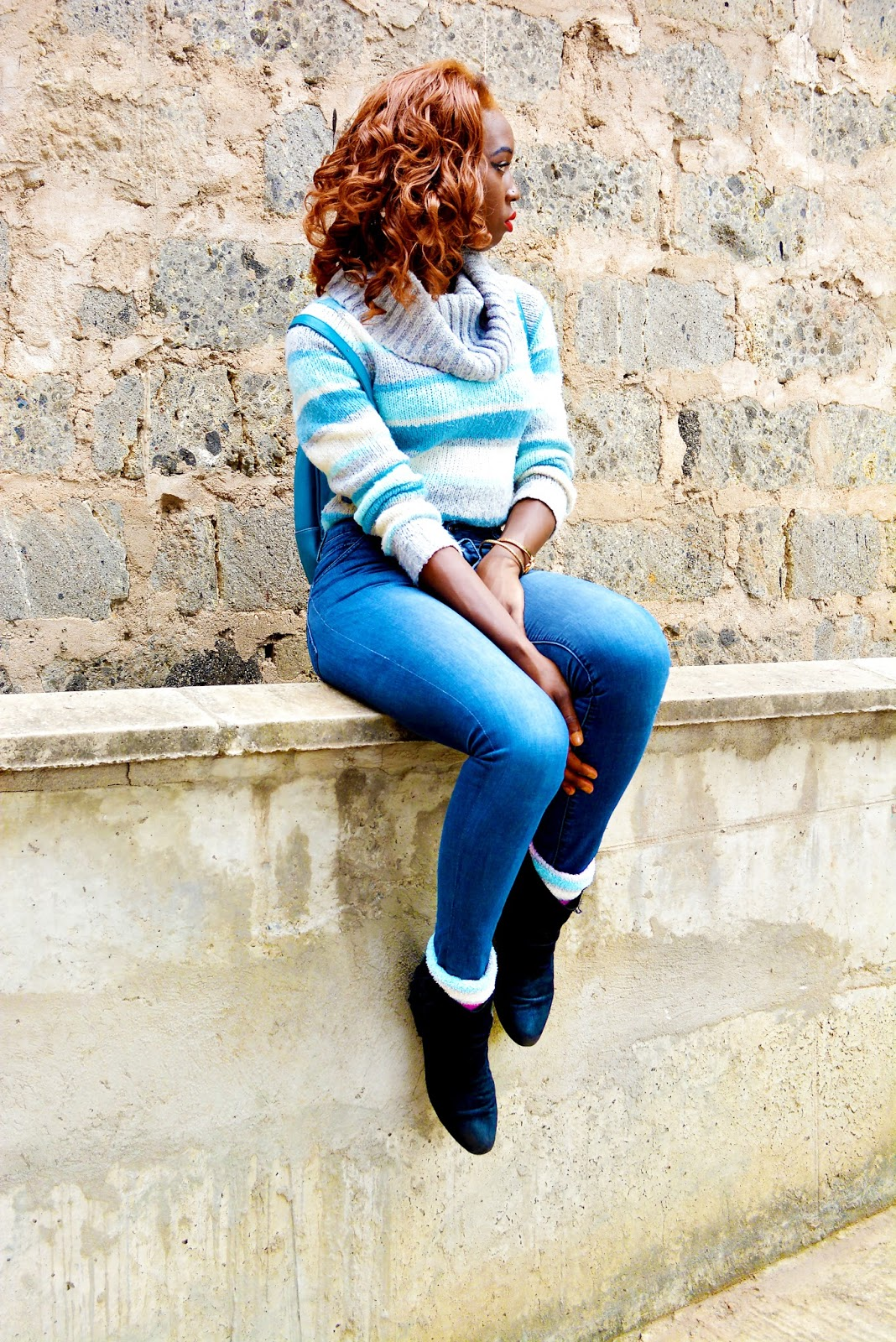 winter outfits, sweater weather, what to wer during the cold season, how to look fab  during winter, ezil, stye with ezil, african fashion blogger, Kenyan fashion blogger, all blue outfit, how to wear socks with boots.