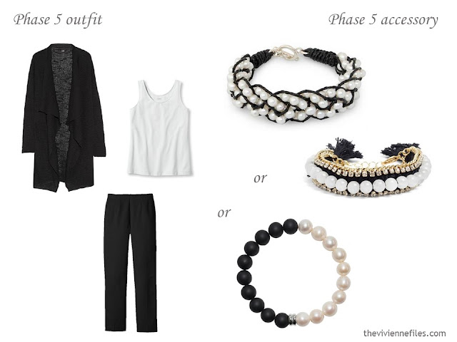 three pearl and black bracelets to wear with a class black and white outfit