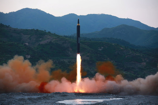 The long-range strategic ballistic rocket Hwasong-12 (Mars-12). KCNA via REUTERS