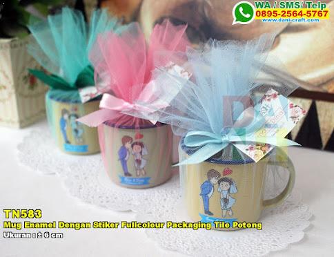 Mug Enamel Dengan Stiker Fullcolour Packaging Tile Potong