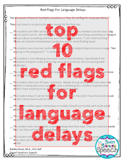 Printable list of Red Flags for language delays