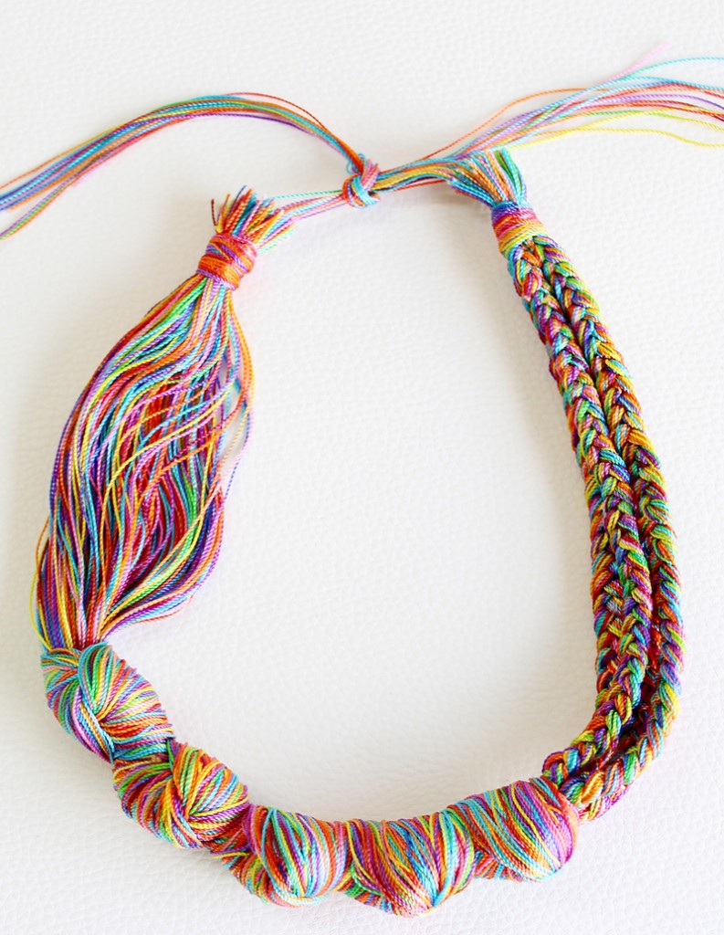 embroidery floss necklace tutorial