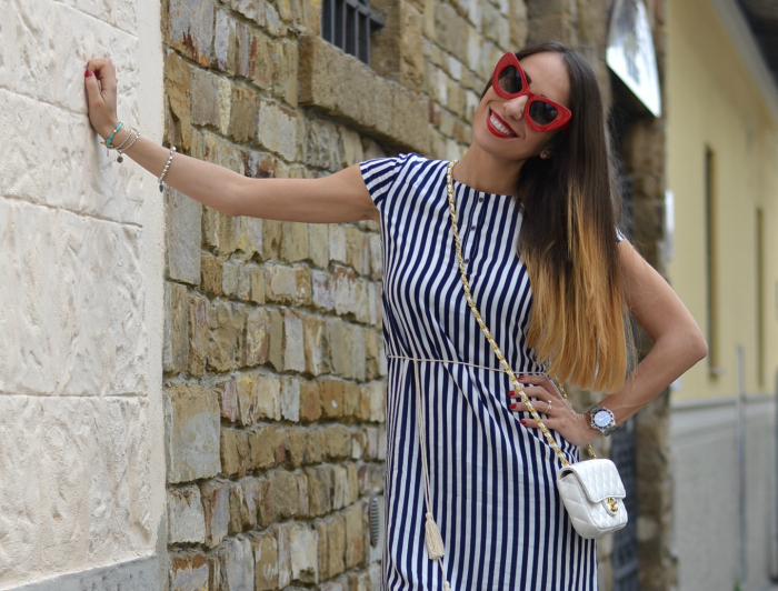 white blue striped dress