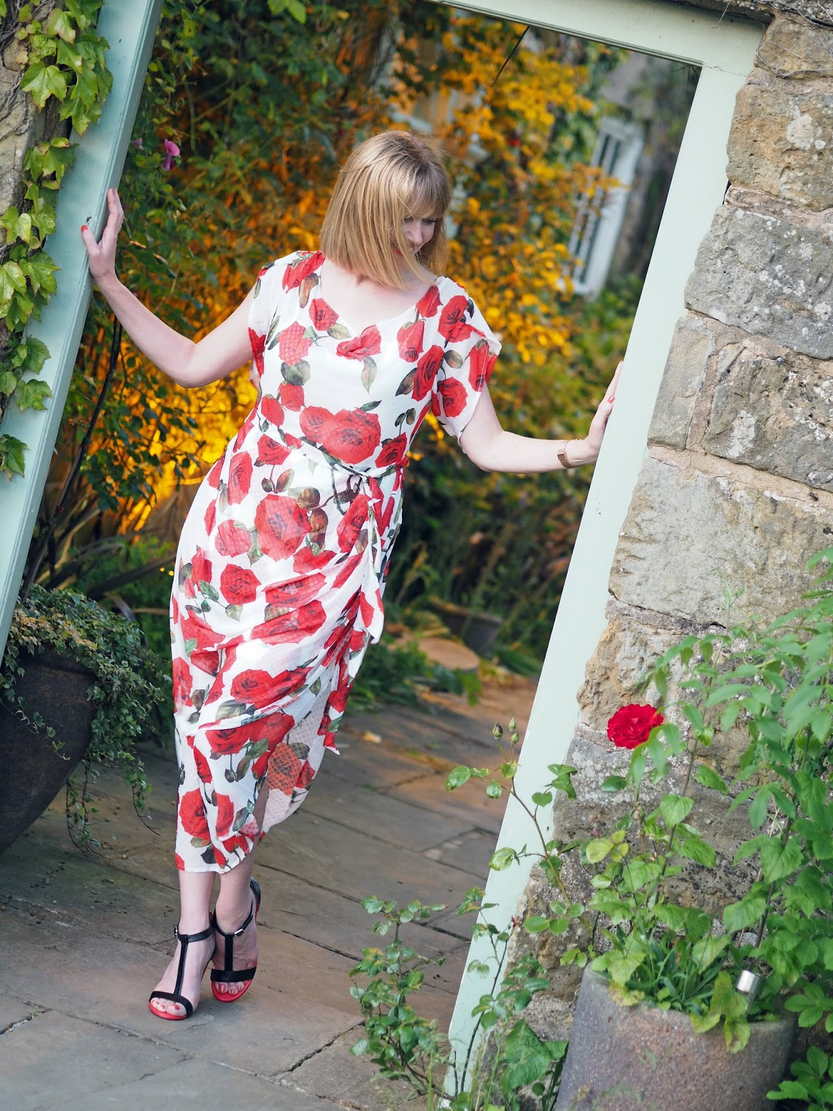 Alice's Pig White and red floral rose draped midi dress with red and black high-heeled sandals style over 40